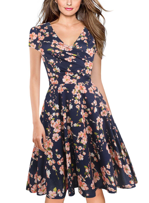 Women Floral Print Casual Dress V Neck Short Sleeve Work