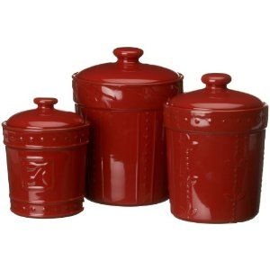 The Signature Housewares Ruby Red Sorrento Set Of 3 Canisters