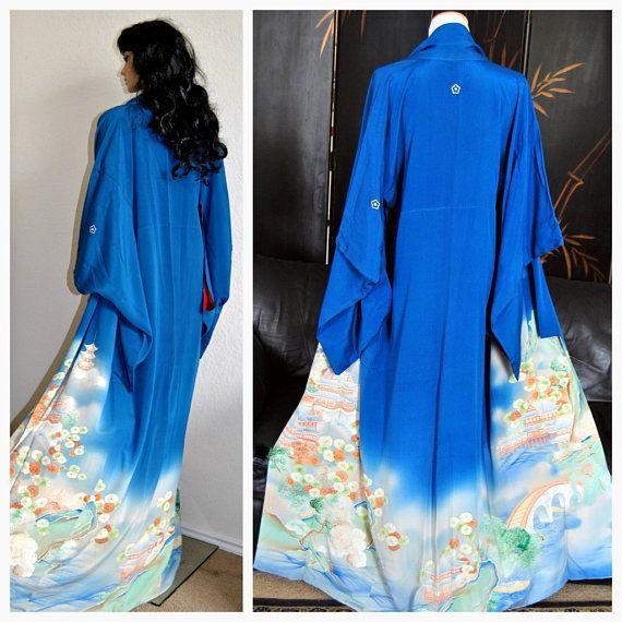 Gion Geisha Japanese Kimono Silk Robe Authentic Yuzen