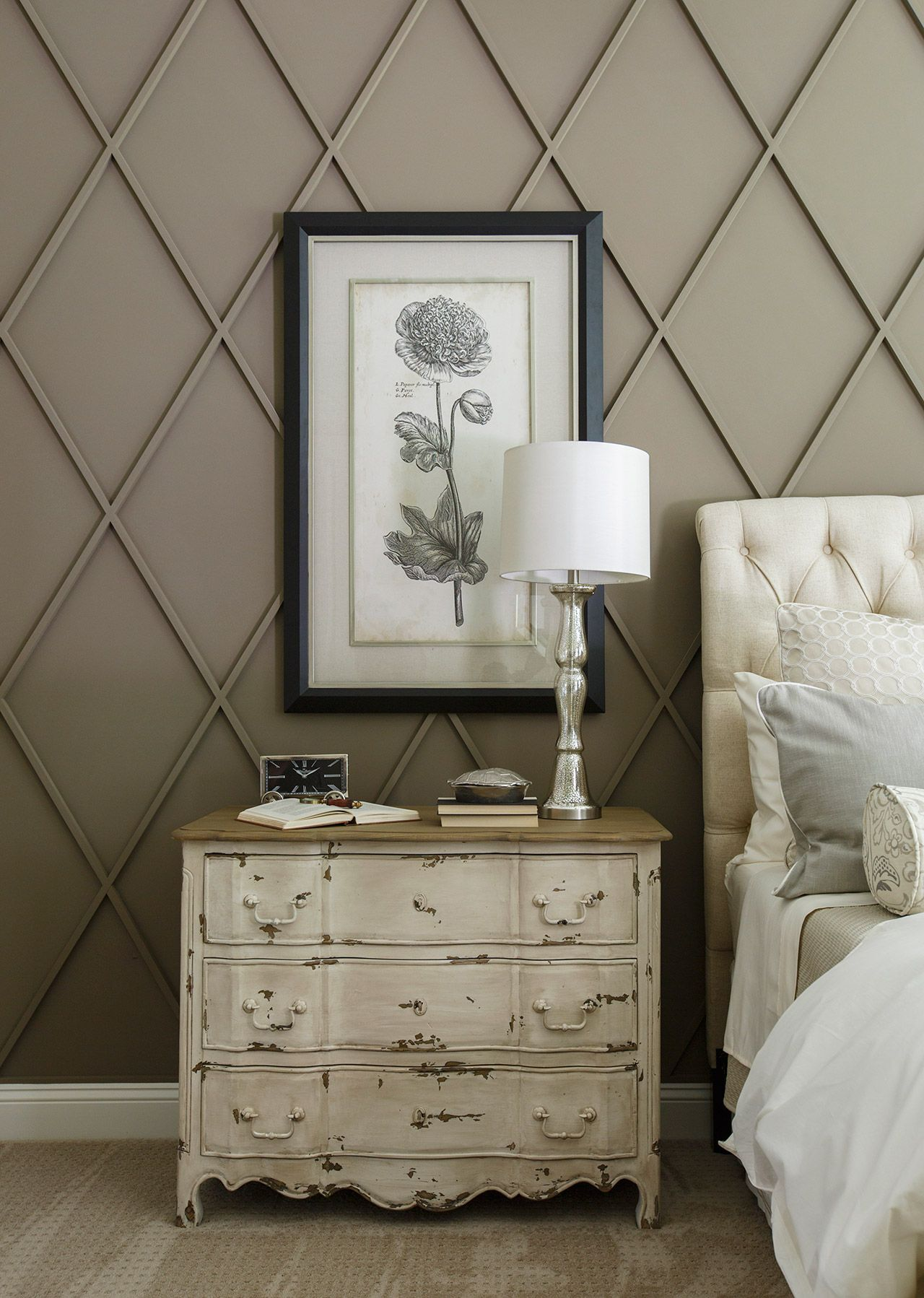 Back Accent Wall Great Use Of Raised Shapes To Add Texture And Dimension Using The Same Color For Both Kee Millwork Wall Farm House Living Room Bedroom Wall