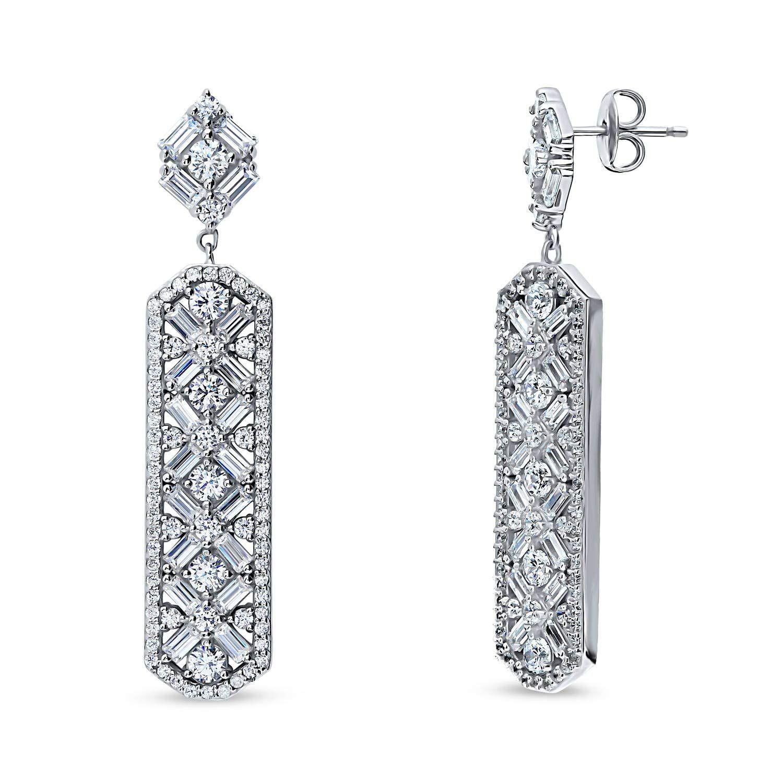BERRICLE Silver-Tone Statement Wedding Dangle Drop Earrings