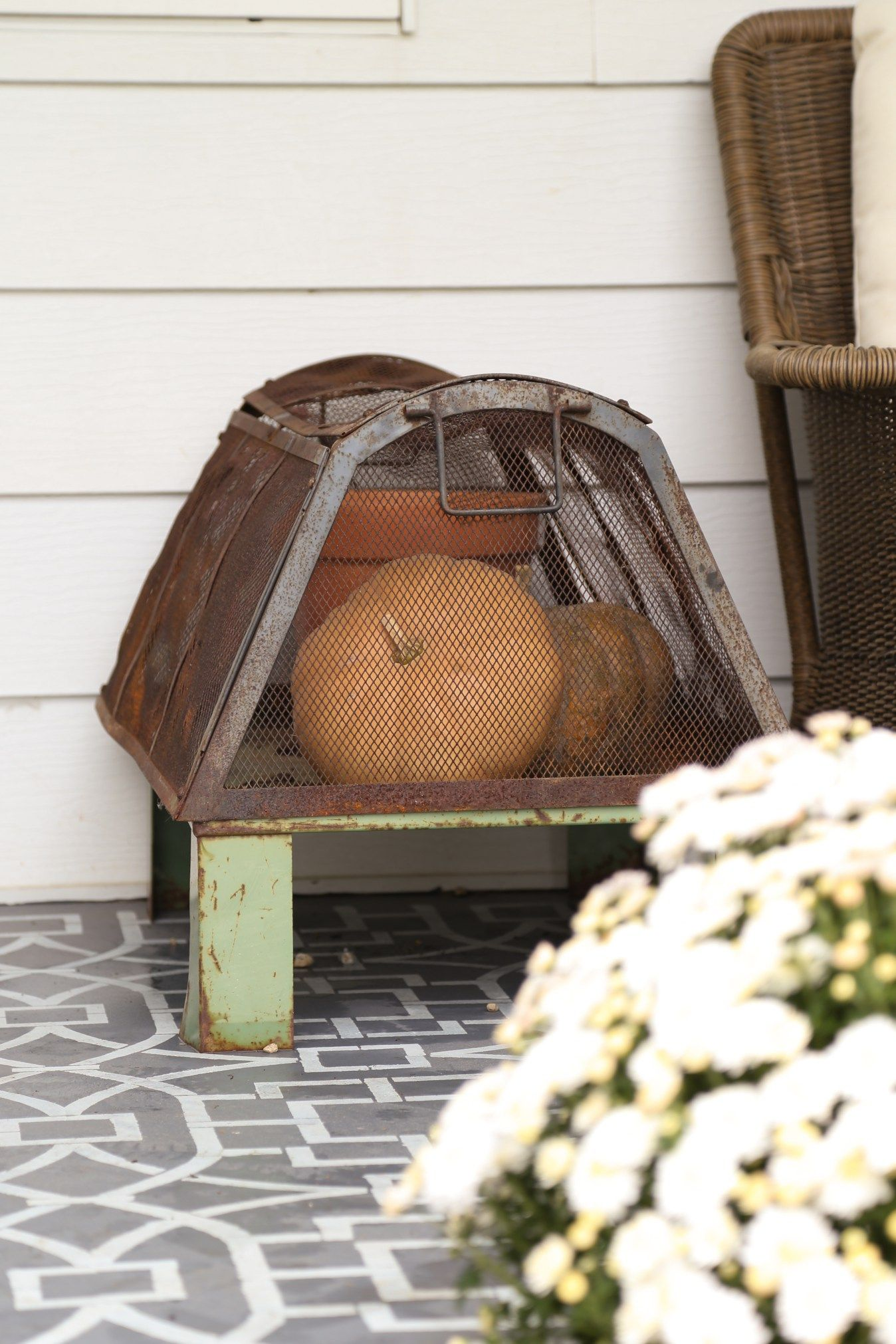 Industrial and rusty greenhouse ready for fall with muted orange