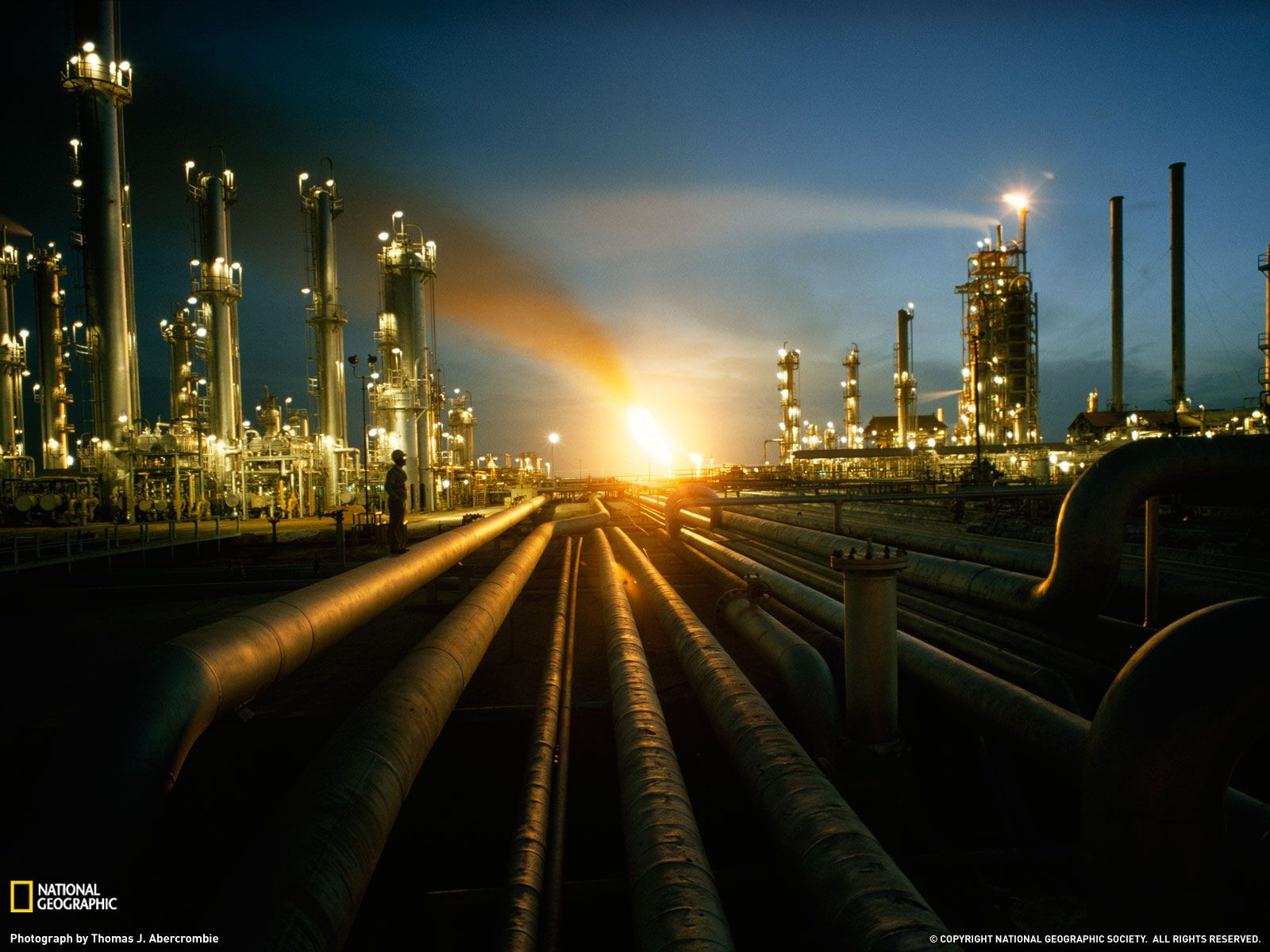Refinery at night Oil and Gas Oil refinery, Oil, gas