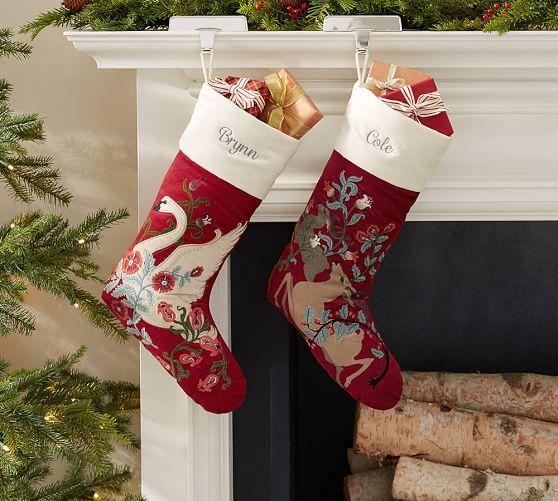 Christmas Stockings Pottery Barn.Fairytale Swan Stocking Potterybarn Xmas Decorations