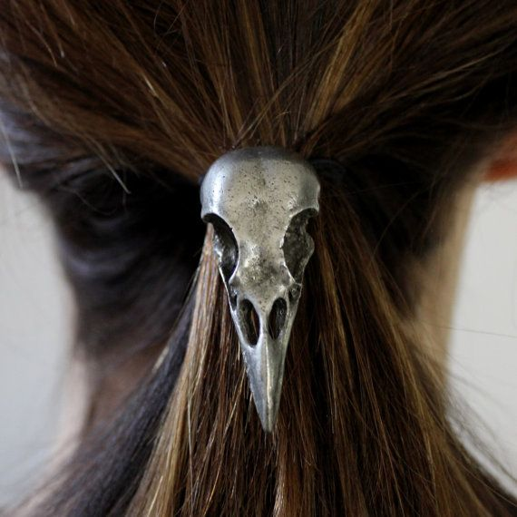Antique Silver Crow Skull Hair Tie  Pony Tail Holder by mrd74, $39.00