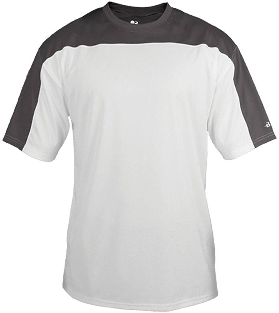 Badger Mens Defender Performance T Shirt White Graphite Small