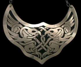 repro Greifvogel Gorget    Intertwined Birds of Prey  Late Celtic Style