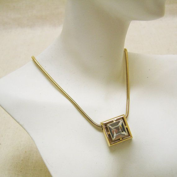 Fiery White Emerald Cut Rhinestone Necklace by PandPF on Etsy