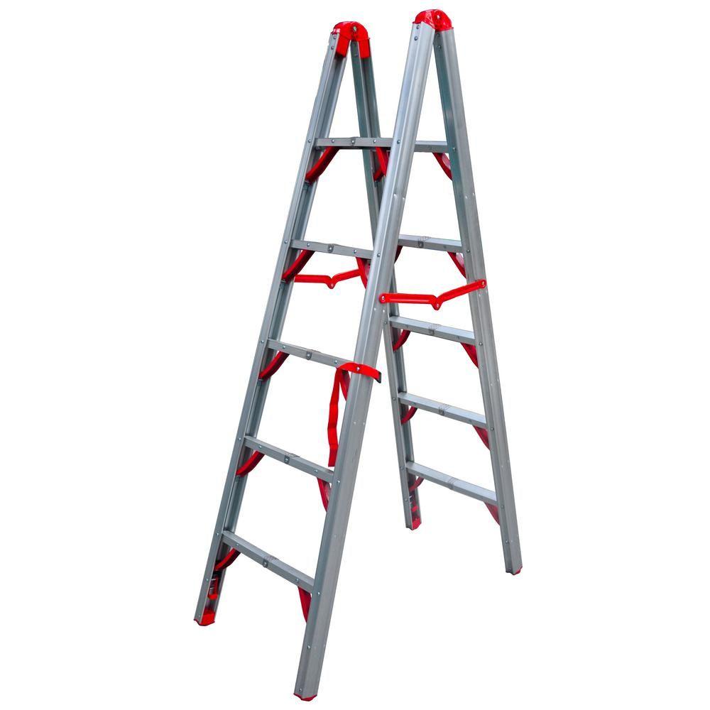 Telesteps 6 Ft Osha Compliant Double Sided Folding Aluminum Step Ladder Stik Ladder Folding Ladder Home Improvement