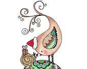 "Filofax kerst Divider : Exclusieve snailmail ""Home for Christmas"" Print als KERST - divider"