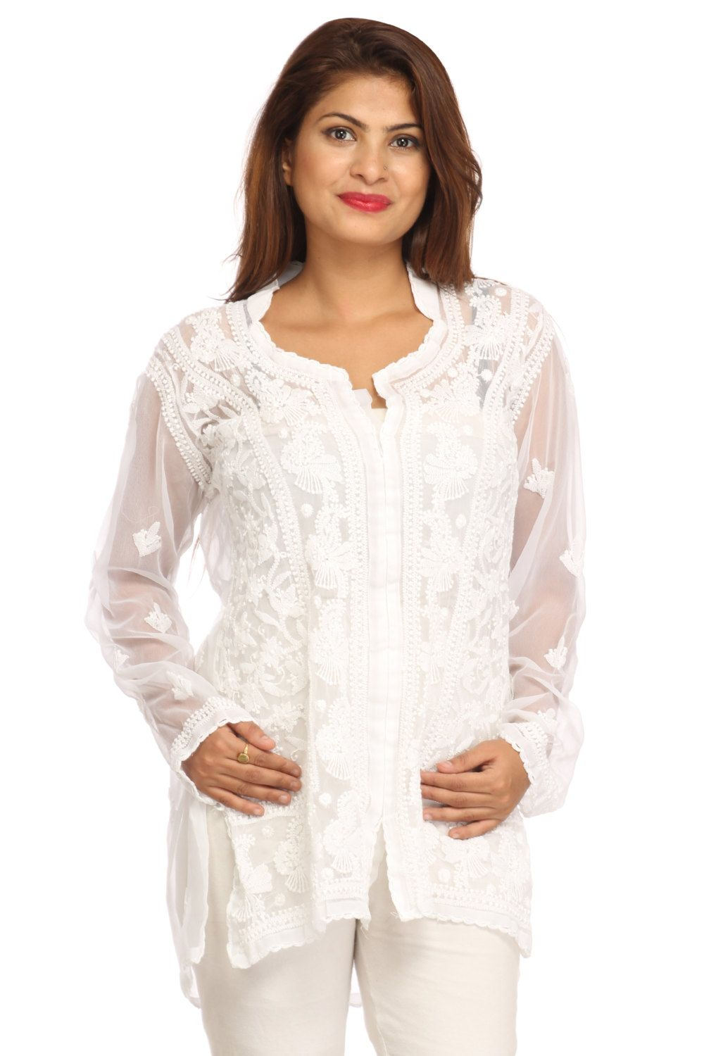 de4f5d8a97c Exotic white Ethnic exclusive designer Lucknow Chikan hand embroidery  kurta/ top /tunic for women / girl / ladies by Indiankala4u on Etsy