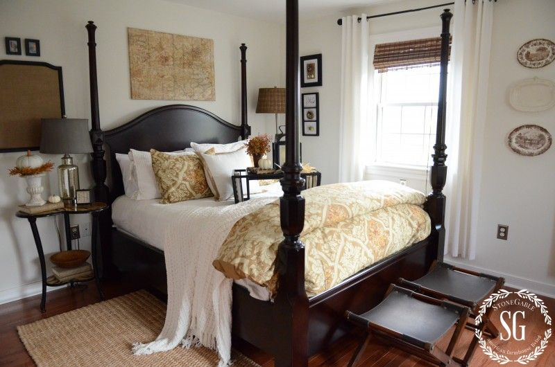 Fall In The Guest Room Stonegable Guest Room Colors Guest Bedroom Bedding Relaxing Bedroom Autumn touches in guest bedroom
