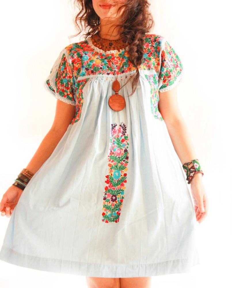 Handmade Mexican embroidered dresses and vintage treasures from Aida  Coronado Cielo de Flores San Antonino Mexican embroidered dress A heart in  every piece