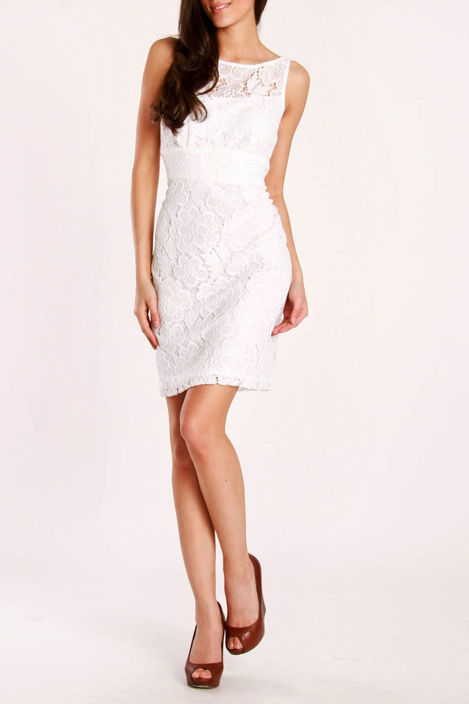 Sandra Darren Sleeveless Fl Lace Dress In White Beyond The Rack