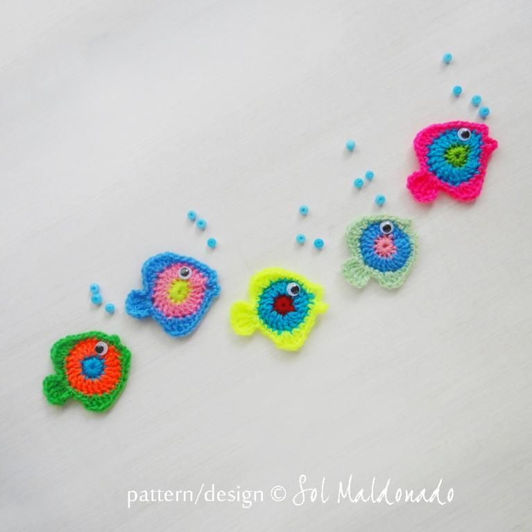 Fish Crochet Applique Mobile wall decor | Crochet appliques, Wall ...