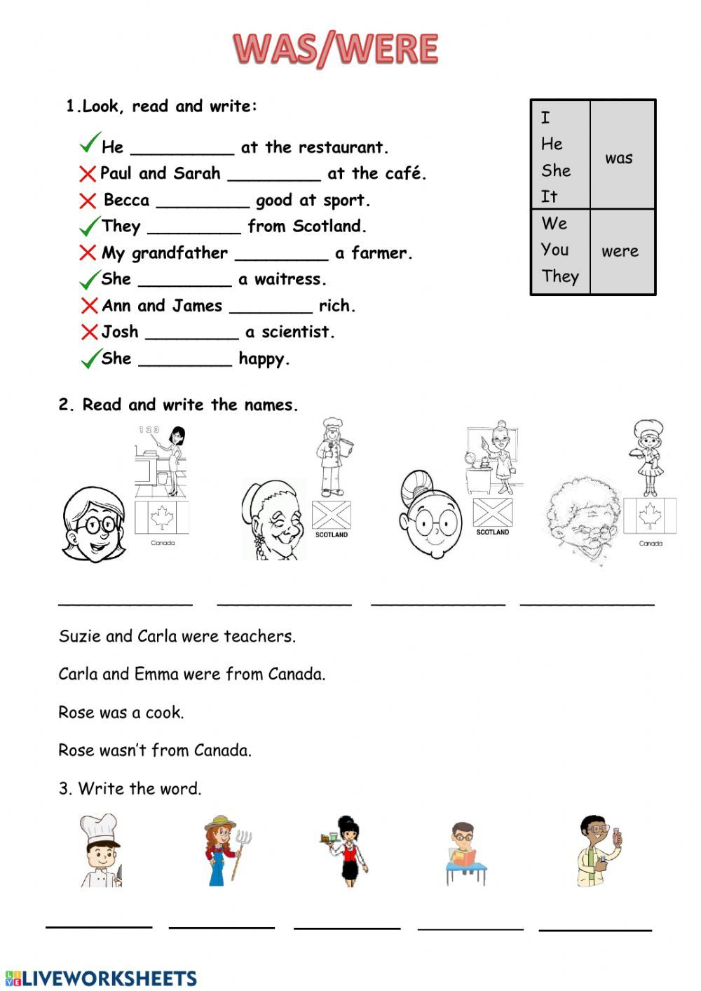 Was Or Were Interactive And Downloadable Worksheet You Can Do The Exerci English As A Second Language Esl Reading Comprehension English As A Second Language