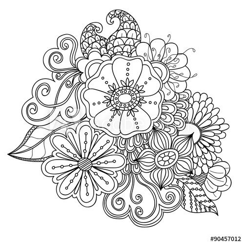 Doodle art flowers. Zentangle floral pattern. Hand drawn
