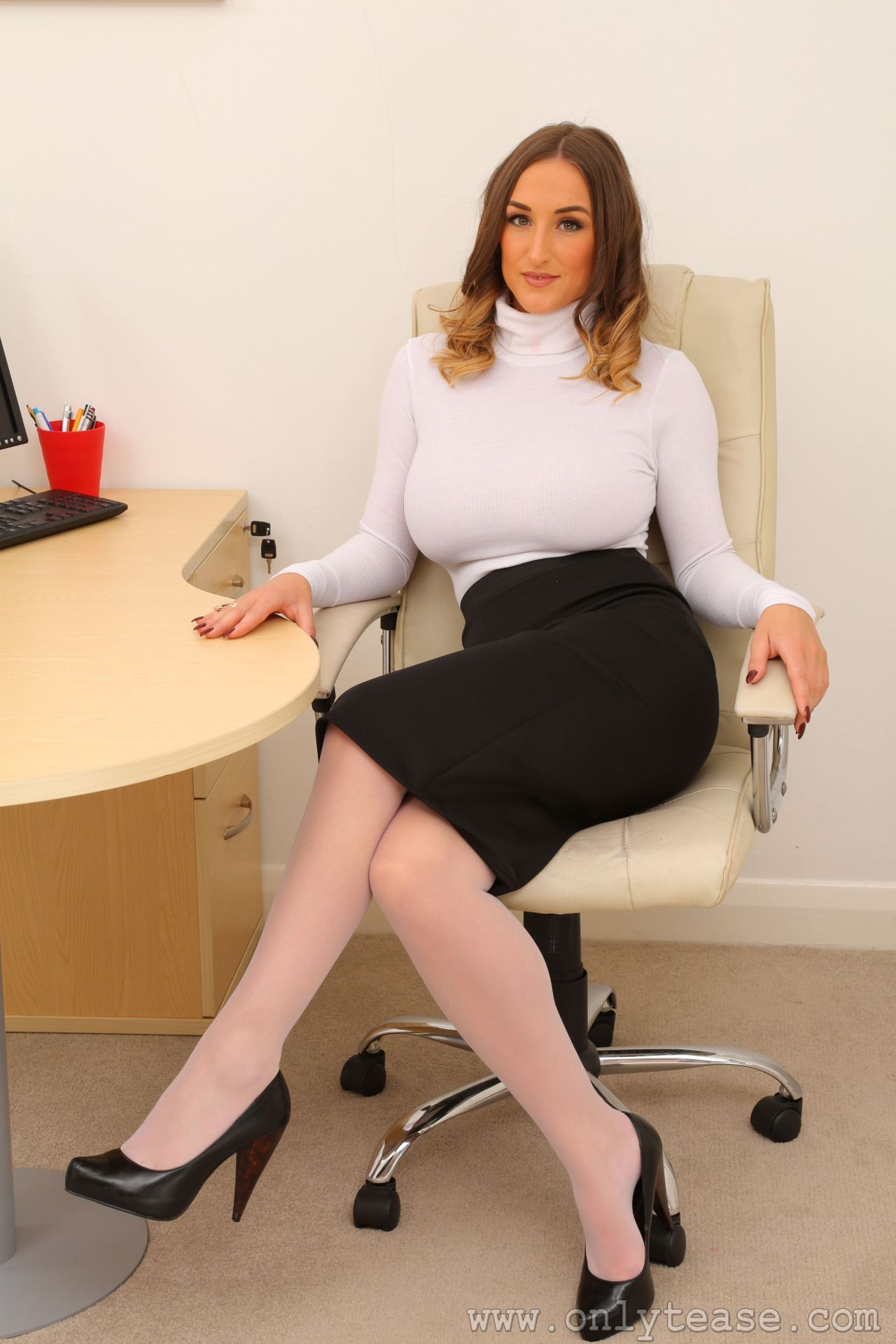 hot secretaries white stocking