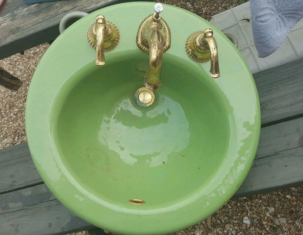 Vintage Kohler Green Round Bathroom Sink Drop In 19\