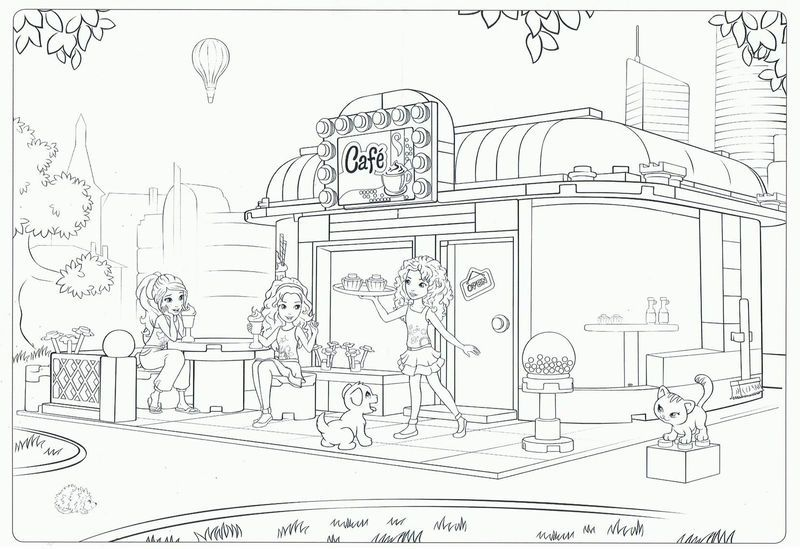Lego Friends Cafe Coloring Page Lego Coloring Pages Lego Friends Friends Cafe