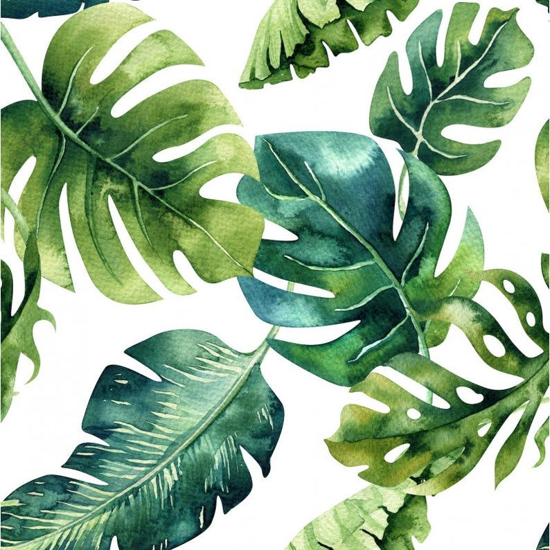 Monstera Leaves Cot Bed Sheet - Tropical Nursery Bed Linen - Baby Moses Basket Bedding - Crib Fitted Sheet