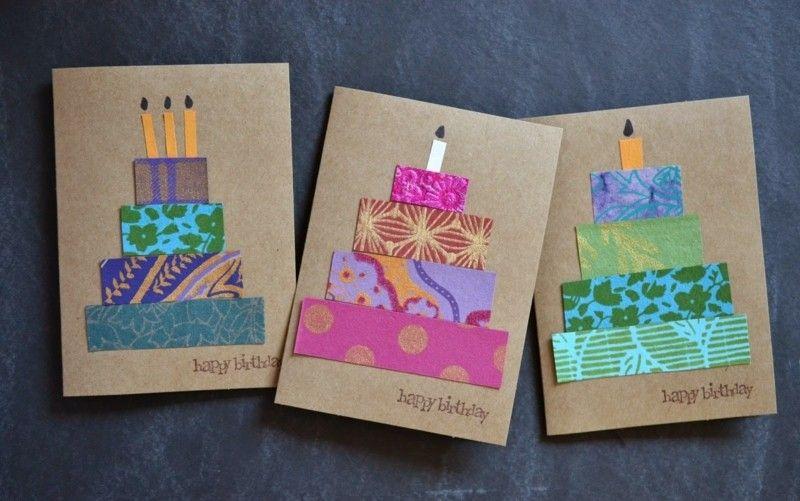 geburtstagskarten gestalten bunt papierstreifen torte diy ...