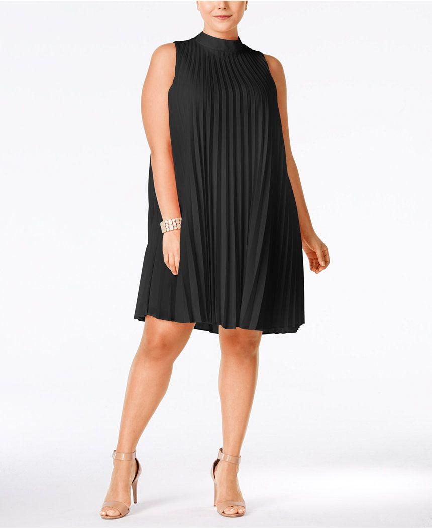 Plus Size High-Neck Pleated Shift Dress | Plus size dresses ...