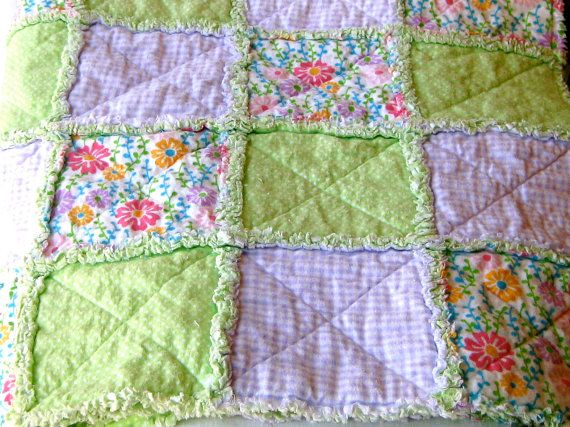 Young Girl Rag Quilt with Bamboo and Organic Cotton Lining | Girls ... : rag quilt with cotton fabric - Adamdwight.com