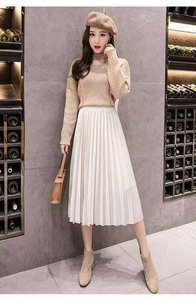 66f42019fd 2018 Autumn Winter Velvet Skirt High Waisted Skinny Large Swing Long Pleated  Skirts Metallic 18 Colors Plus Size 3XL Midi Saia