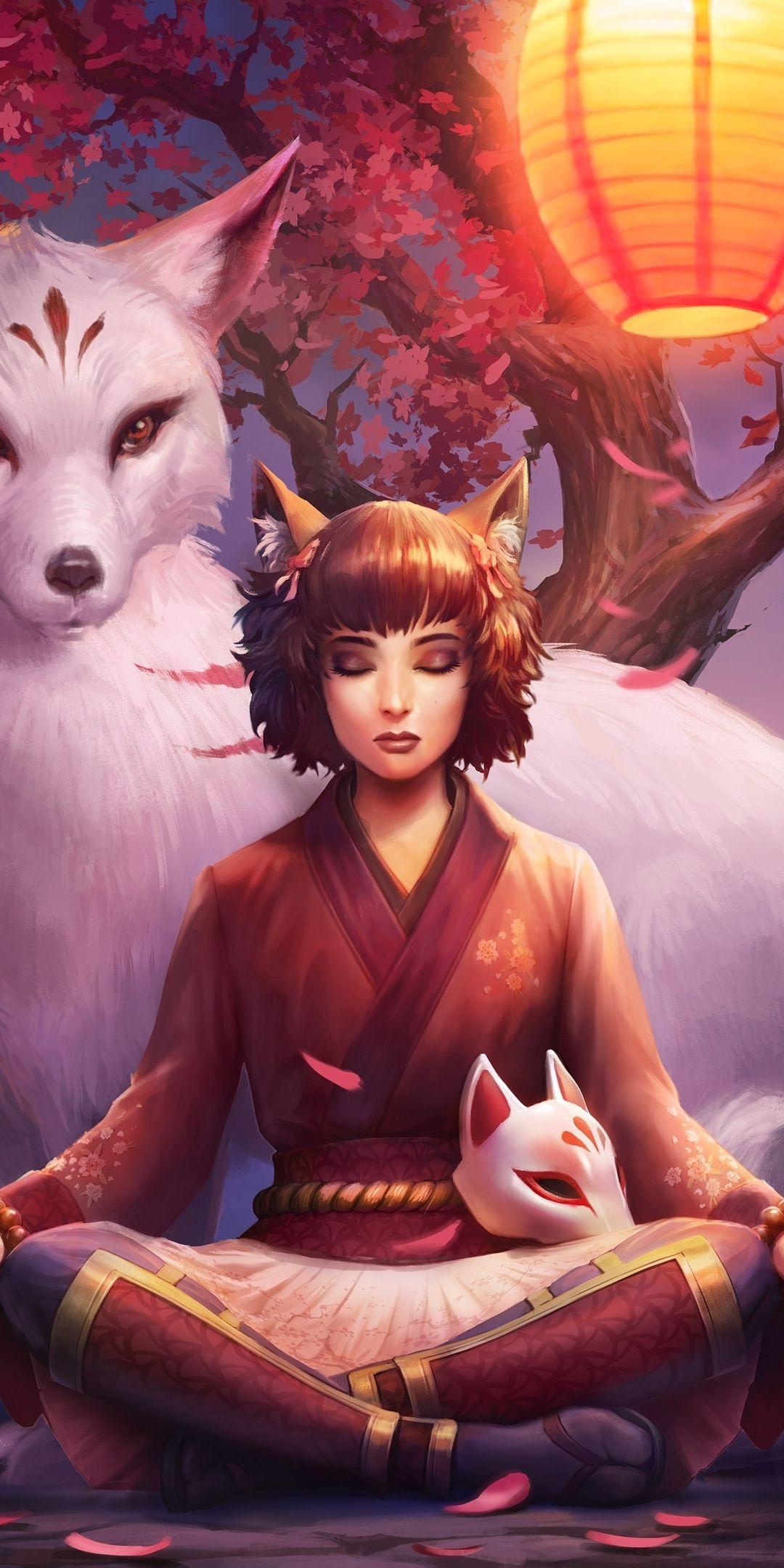 1080x2160 elf girl smite video game meditation