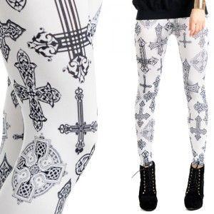 Leginsy Z Nadrukiem Krucyfiks Women S Leggings Clothes For Women Leggings