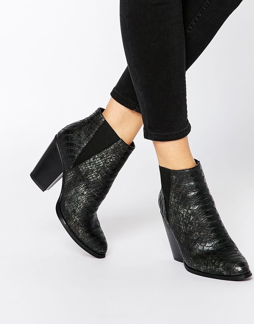 New Look Snake Effect Heeled Ankle Boots | footwear 09 oct 2015 ...