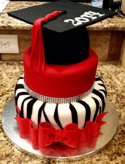 Cake Design For Matriculation : Red,White, and Black Graduation Cake My Graduation Party ...