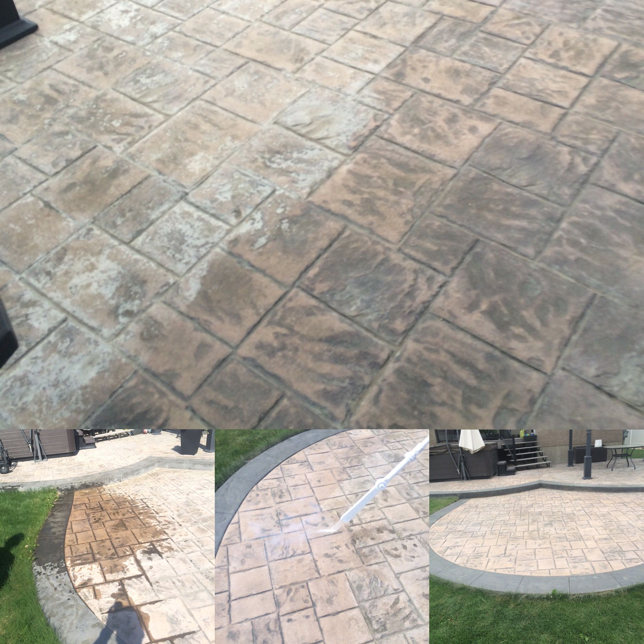 Using Dry Ice Blasting To Remove Concrete Sealer From A Stamped Concrete  Patio. Dry Ice