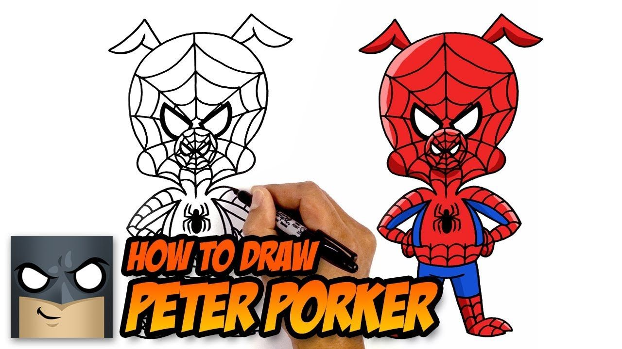 How To Draw Peter Porker Spider Man Into The Spider Verse Step By Step Tutorial Youtube Kawaii Girl Drawings Drawings Easy Cartoon Drawings