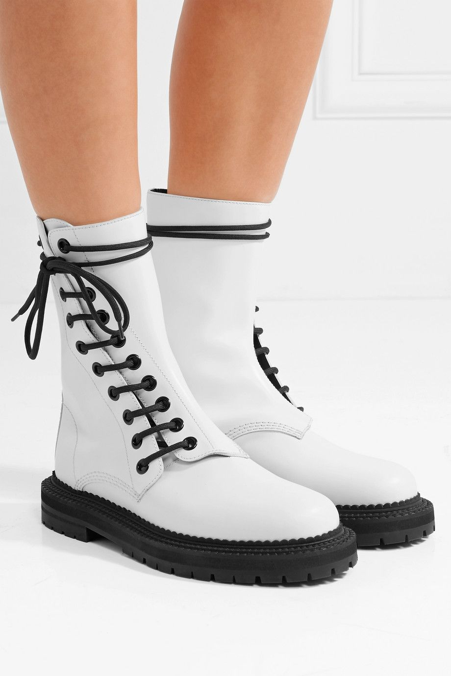 White Lace-up leather ankle boots