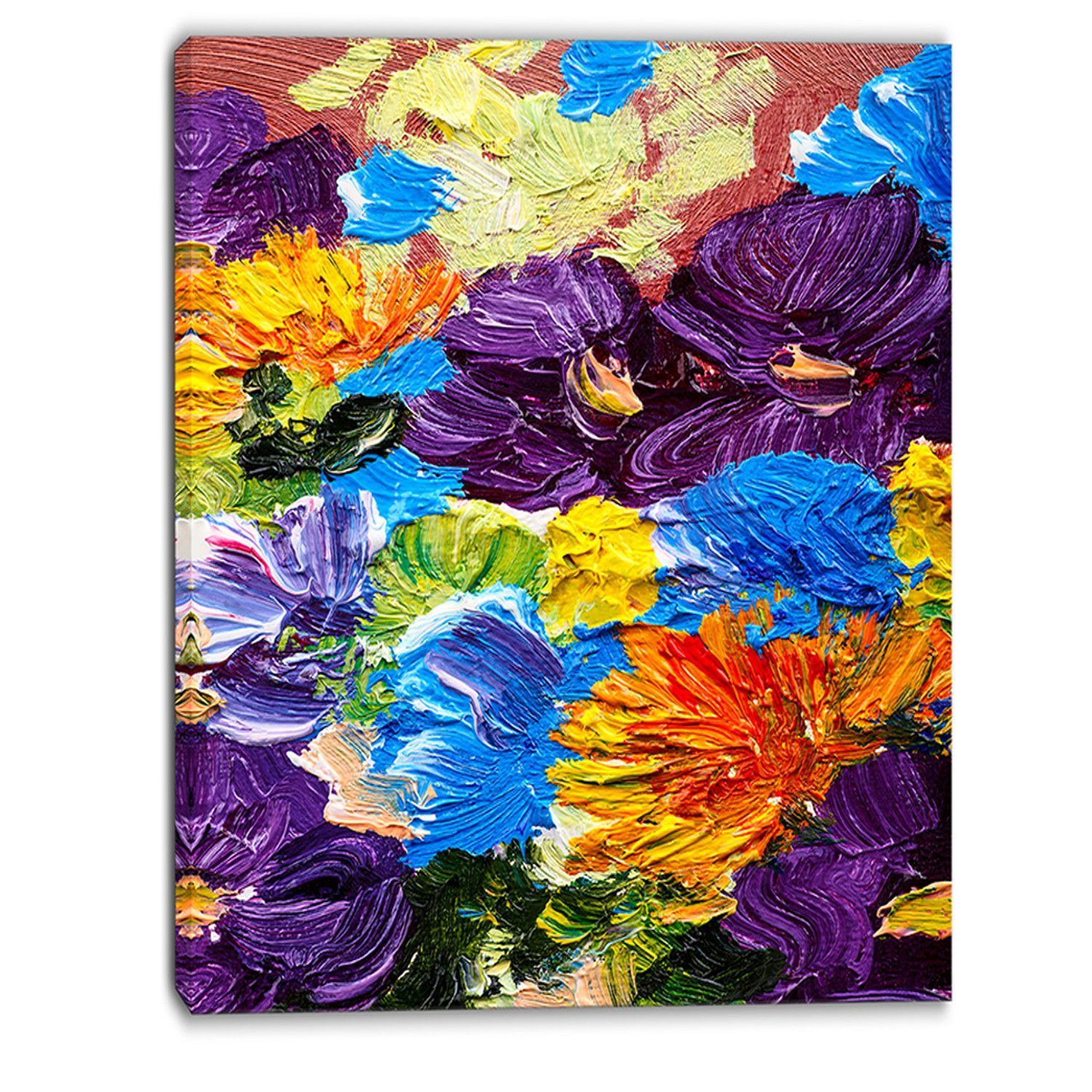 Heavily Textured Abstract Flowers Abstract Painting Print On Wrapped Canvas