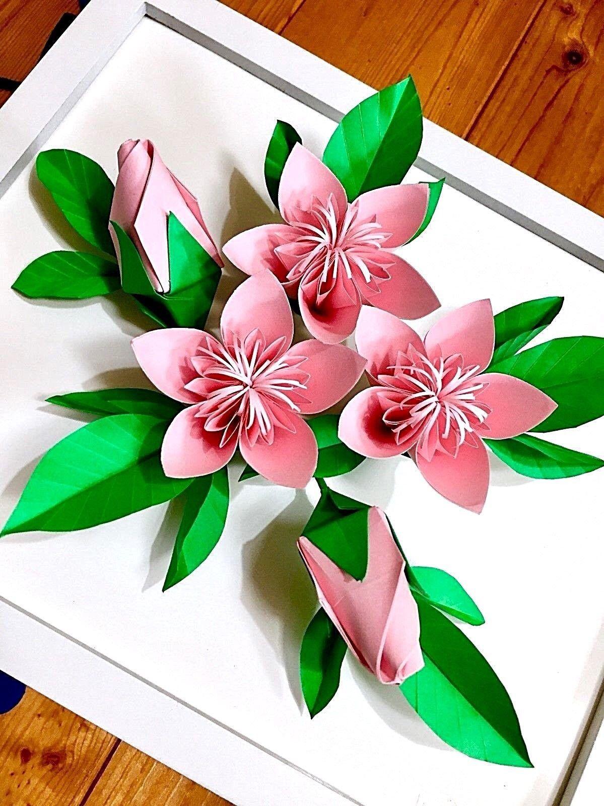 Цветы оригами на открытку, знаком