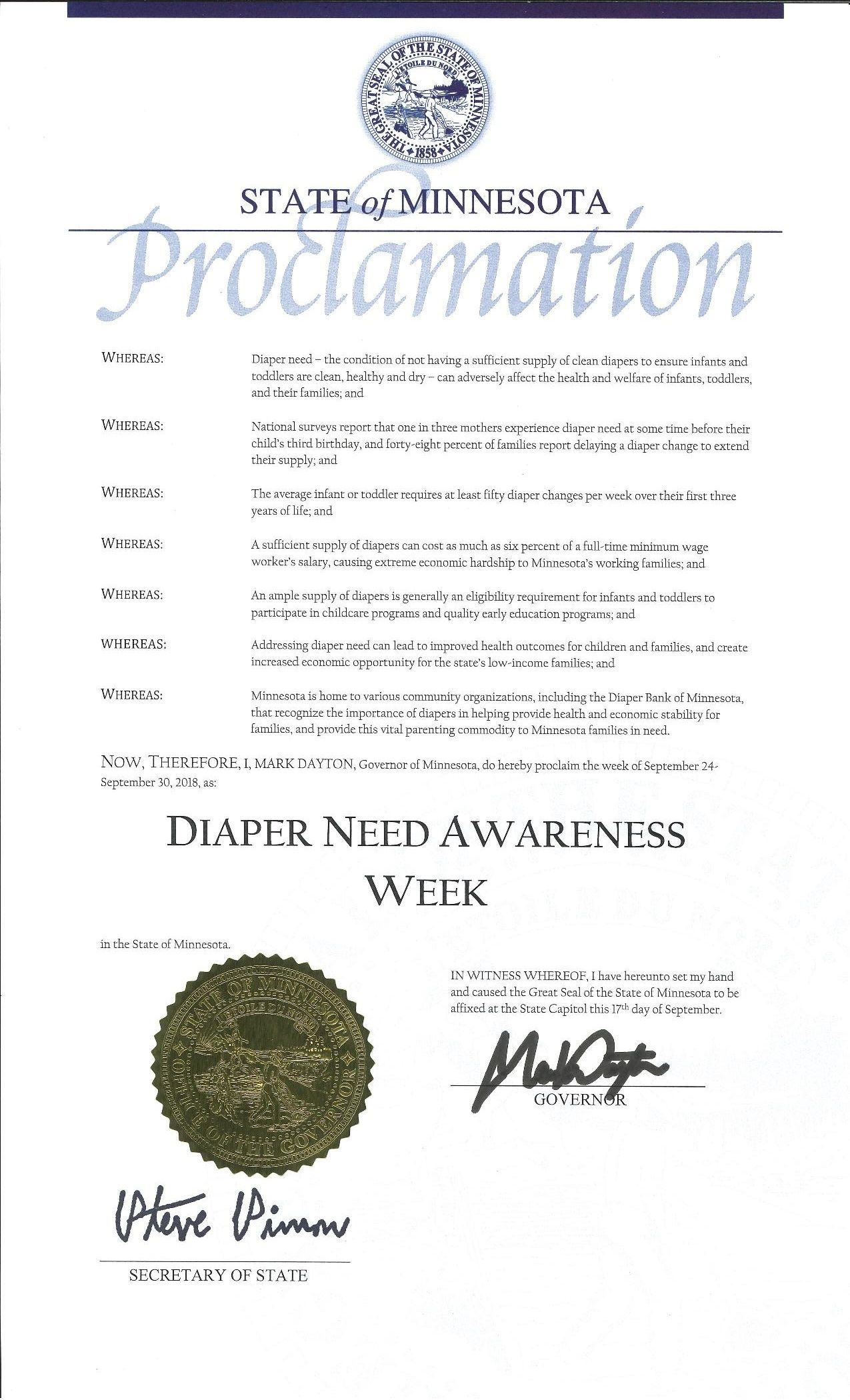Pin By National Diaper Bank Network On 2018 Diaper Need Awareness Week Proclamations With Images Prince Day 7 Prince Prince