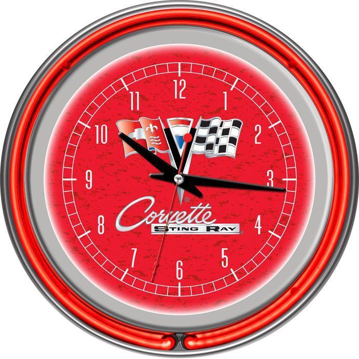 Gm1400r C2 Cor Corvette C2 Red Chrome Double Ring Neon Clock Neon Clock Corvette C2 Clock