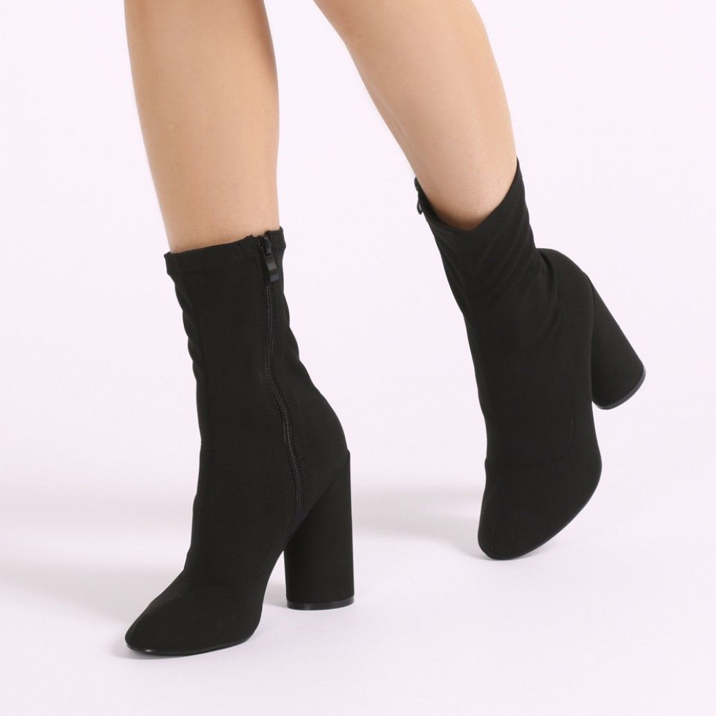 wide range sale sale usa online Elsa Sock Fit Round Heel Ankle Boots in Black Stretch ...