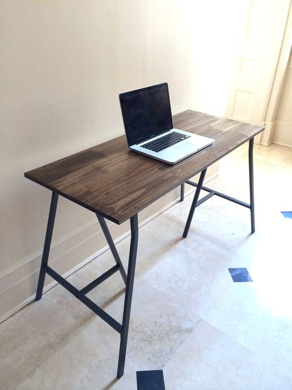Hand Finished Wood Desk On Metal Ikea Legs Rustic