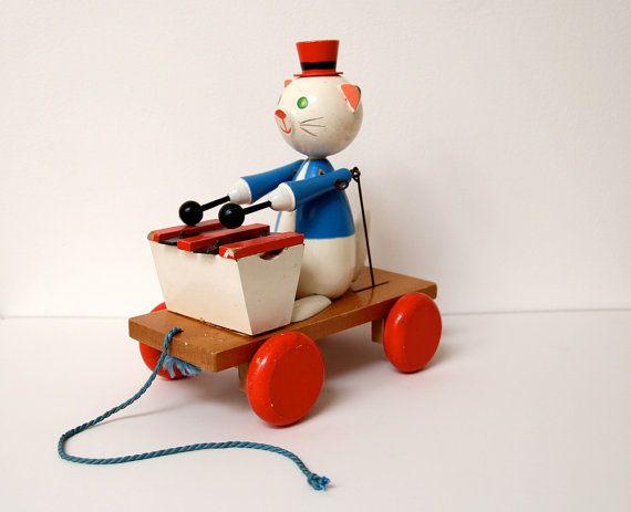 Vintage Wooden Pull Along Xylophone Playing Cat With Automated Arms