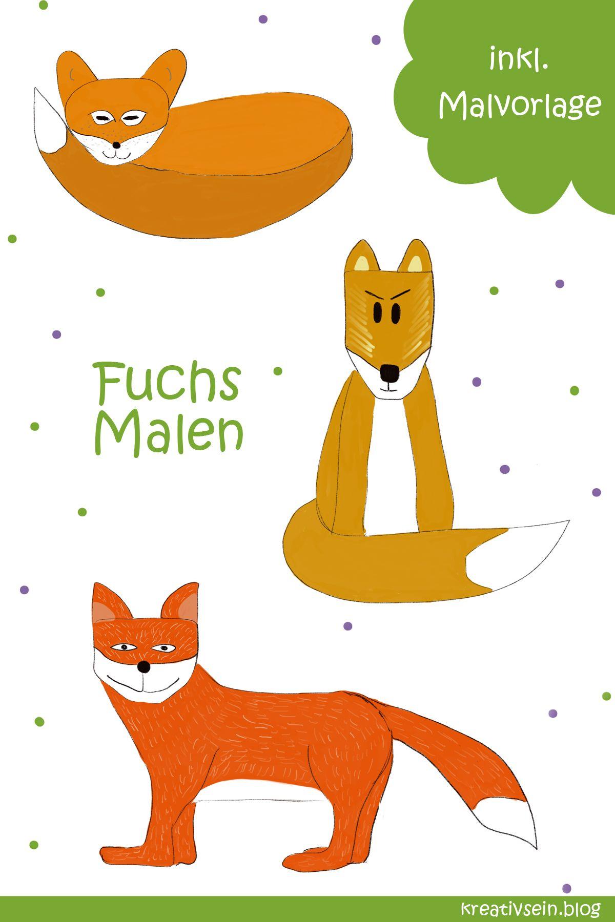 Fuchs Malen: Mit Vorlage geht es ganz einfach!  Tiere malen