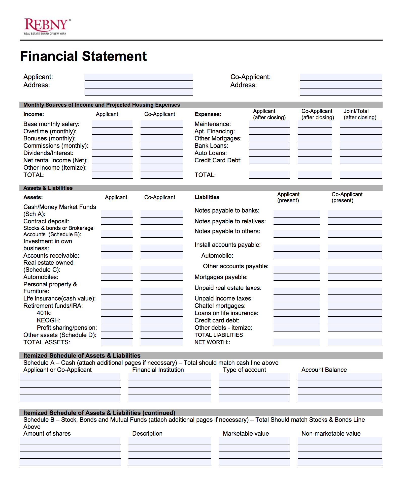 Asset And Liability Statement Template Rebny Financial Statement Form Instructions  Financial Statement