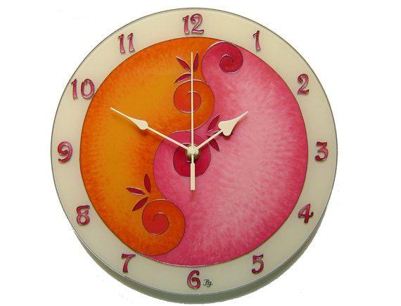 Unique Clock, Orange Pink Decor, Silent Wall Clock, Women Clock ...