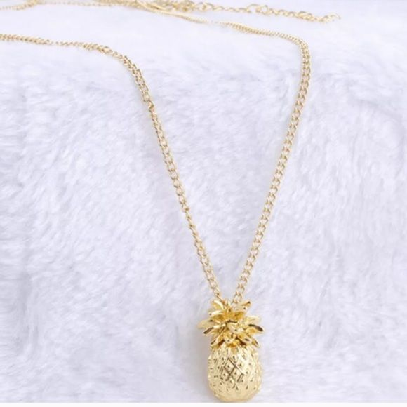 New gold plated pineapple necklace Brand new without tags. Gold plated pineapple drop necklace. Perfect for summer and spring! Jewelry Necklaces