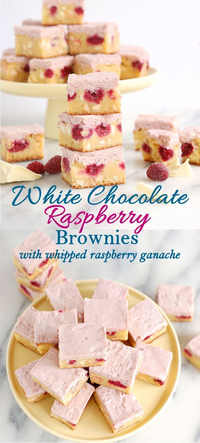 Not your ordinary brownie! White Chocolate Brownies with Raspberries and whipped raspberry ganache. Unbelievably easy to make and incredibly delicious.
