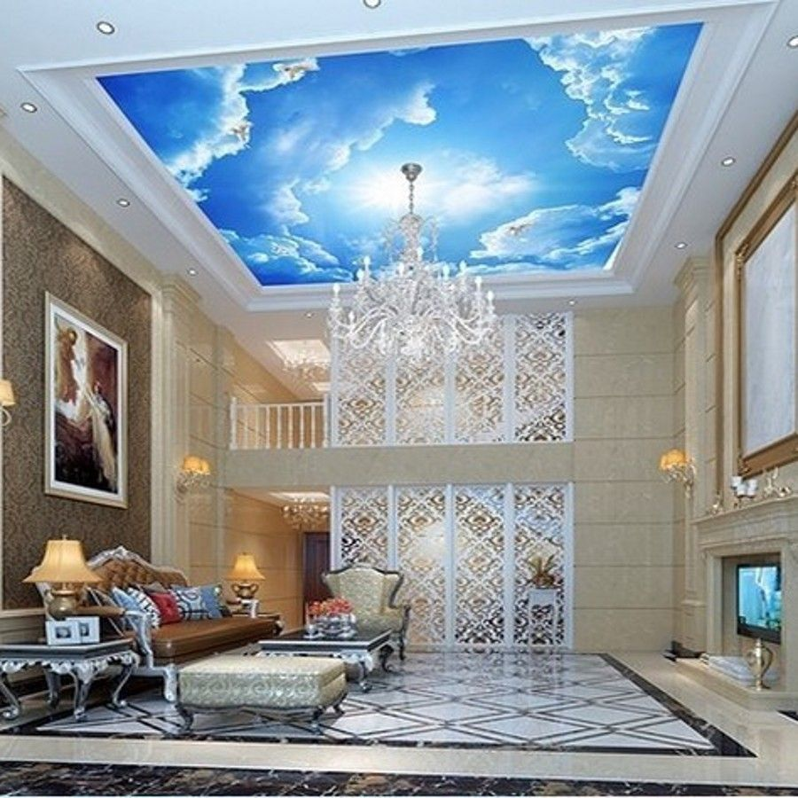 Photo wallpaper large clouds 3d interior ceiling in the for Ceiling mural wallpaper