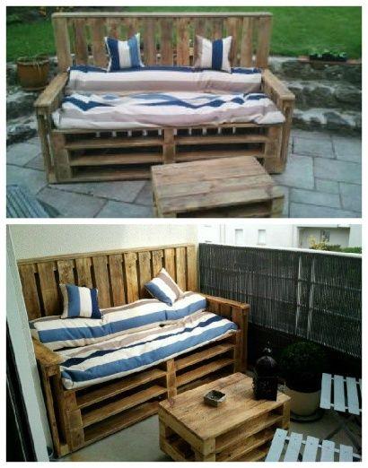 Pallets Terrace Bench & Table – Terrasse d'appartement en Palettes